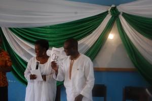 Ms. Anna Bossman and Mr. Okaikoi launching the handbook